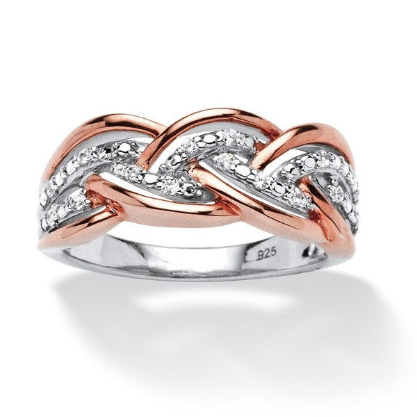 1/10 TCW Round Diamond Braid Ring in Rose Gold over Sterling Silver