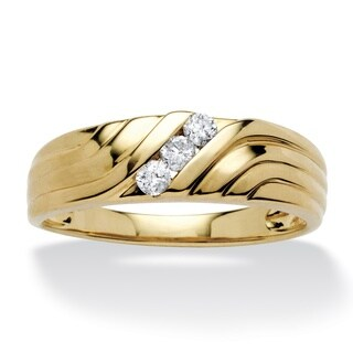 PalmBeach Men's 1/5 TCW Round Diamond Wave Ring in 10k Gold