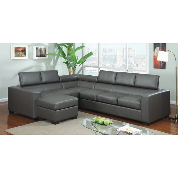 Furniture of america serriz 3 piece bonded leather for Audrey bella chaise