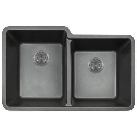 Polaris Sinks P108 Black AstraGranite Double Offset Bowl Kitchen Sink