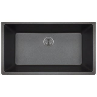 Polaris Sinks P848 Black AstraGranite Single Bowl Kitchen Sink
