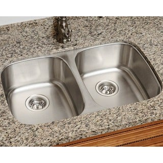 Polaris Sinks P405 16 Equal Double Bowl Stainless Steel Kitchen Sink