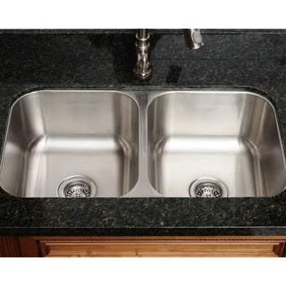 Polaris Sinks PA205-18 Equal Double Bowl Stainless Steel Kitchen Sink