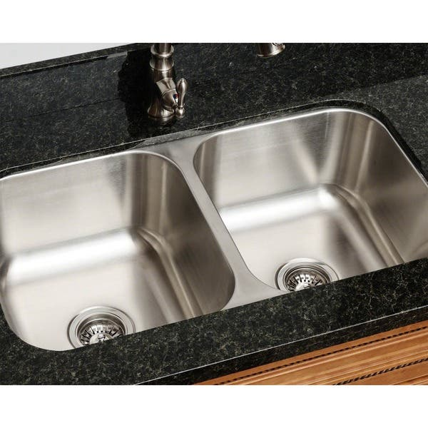 Shop Black Friday Deals On Polaris Sinks Pa205 16 Equal Double Bowl Stainless Steel Kitchen Sink Overstock 9051811