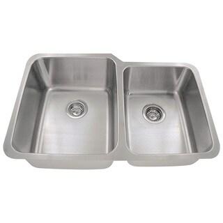 Polaris Sinks PL315 Offset Double Bowl Stainless Steel Kitchen Sink