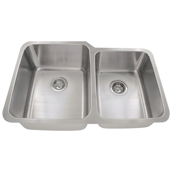 Polaris Sinks PL315 Offset Double Bowl Stainless Steel Kitchen Sink. Opens flyout.