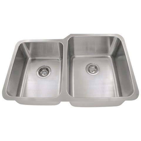 Polaris Sinks PR315 Offset Double Bowl Stainless Steel Kitchen Sink