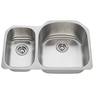 Polaris Sinks PR1213-18 Offset Double Bowl Stainless Steel Kitchen Sink