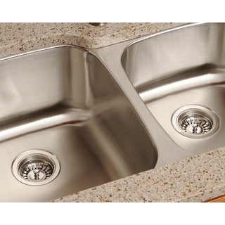 Polaris Sinks PL305-16 Offset Double Bowl Stainless Steel Sink