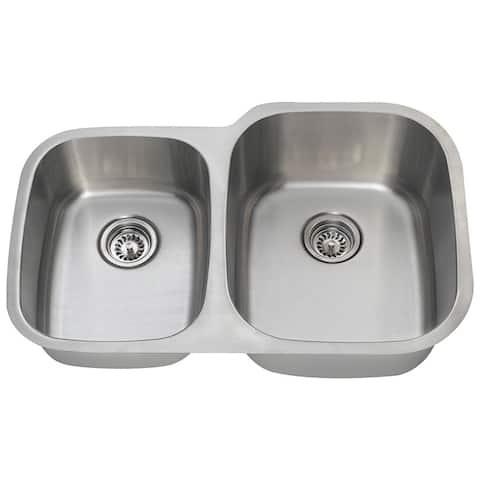 Polaris Sinks PR305-16 Offset Double Bowl Stainless Steel Sink