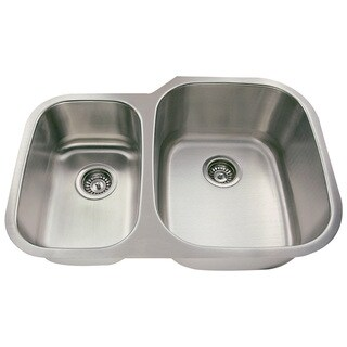 Polaris Sinks PR605-18 Offset Double Bowl Stainless Steel Sink