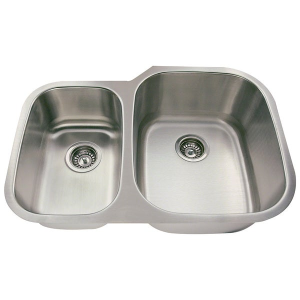 Polaris Sinks PR605-18 Offset Double Bowl Stainless Steel Sink