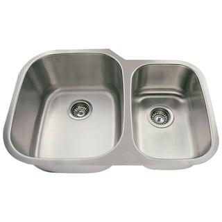 Polaris Sinks PL605-18 Offset Double Bowl Stainless Steel Sink