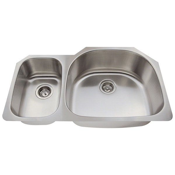 Polaris Sinks P905-18 Offset Double Bowl Stainless Steel Kitchen Sink. Opens flyout.