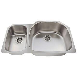 Polaris Sinks P905-18 Offset Double Bowl Stainless Steel Kitchen Sink