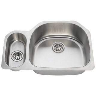 Polaris Sinks PR123-16 Offset Double Bowl Stainless Steel Kitchen Sink - Silver