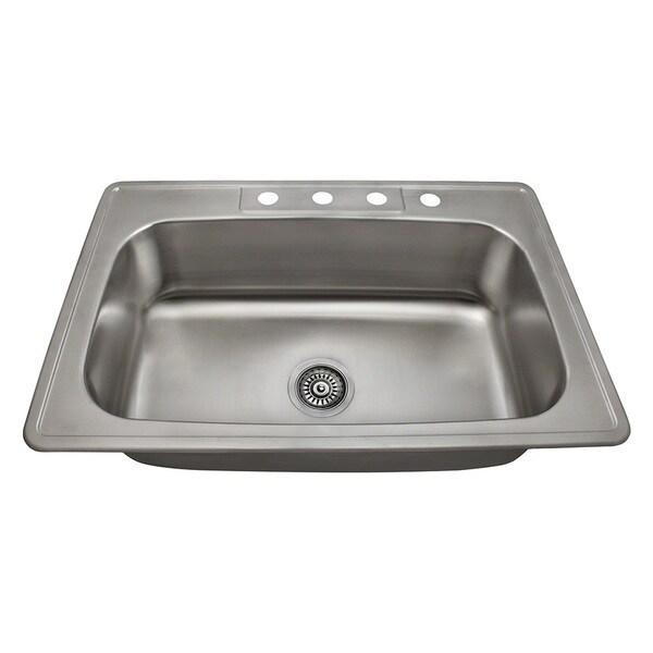 Polaris Sinks PT0301US Single Bowl Topmount Stainless Steel Sink