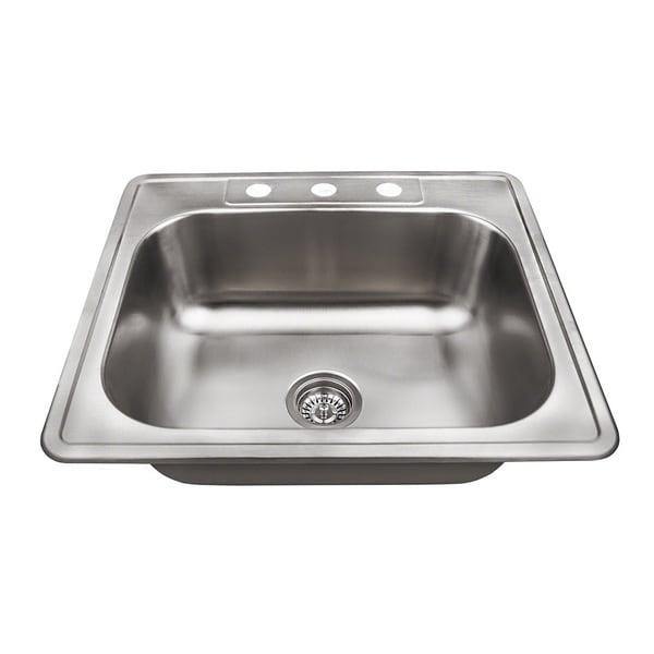 Polaris Sinks PT8301US Single Bowl Topmount Stainless Steel Sink