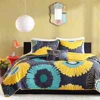 Mi Zone Iris Yellow Reversible Coverlet Set