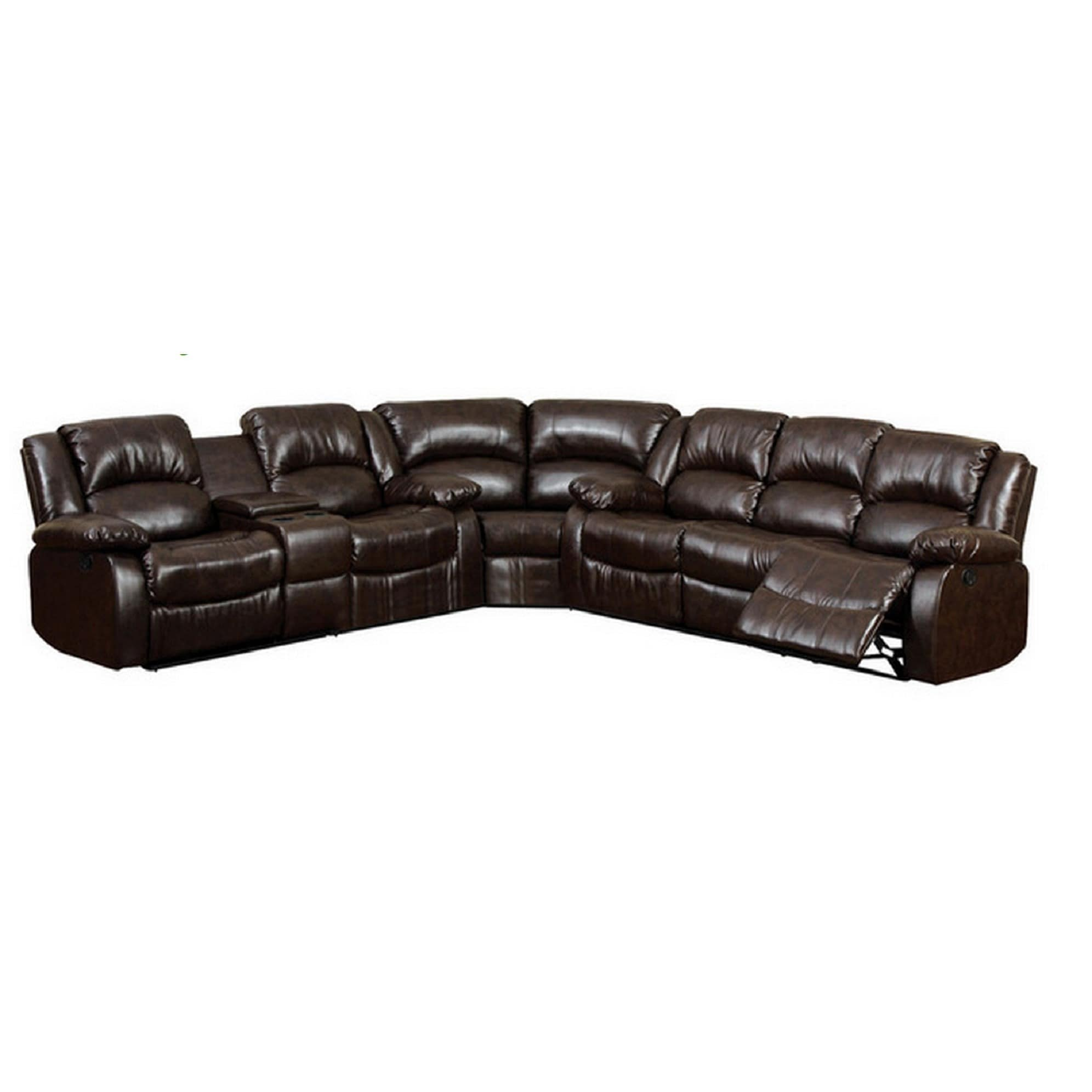 - Shop Arans Rustic Brown Bonded Leather Sectional Sofa - Overstock