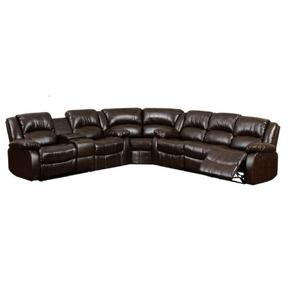 Arans Rustic Brown Bonded Leather Sectional Sofa