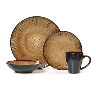 Gourmet Basics Linden Brown Stoneware 16-piece Dinnerware Set (Service for 4)  sc 1 st  Overstock : inexpensive christmas dinnerware - pezcame.com