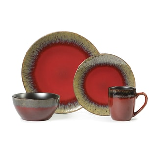 Gourmet Basics Calder Red 16-piece Dinnerware Set
