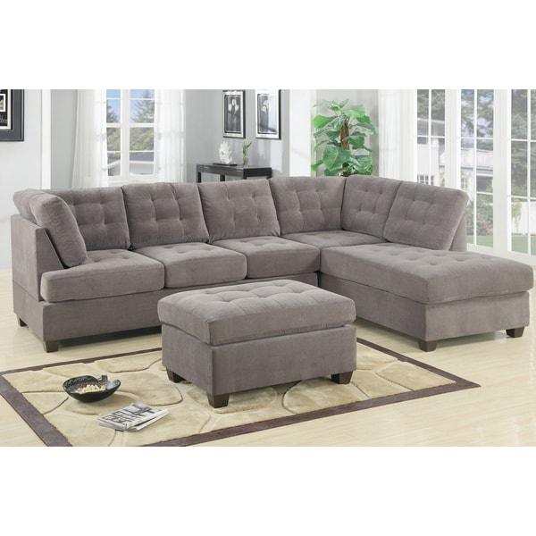 Odessa Waffle Suede Reversible Sectional Sofa with Ottoman
