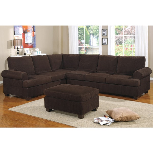 Shop Livorno Reversible L Shape Couch In Corduroy Finish