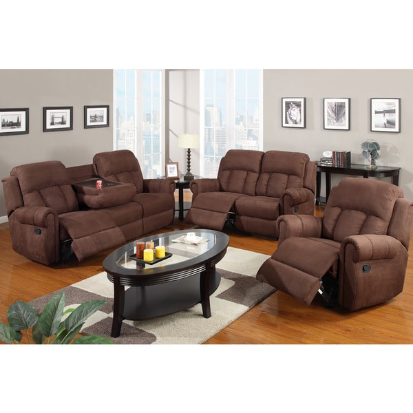 Shop Nantes Microfiber Reclining Motion Sofa Set With