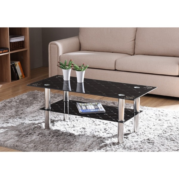 Coffee Table Black Glass Top Part - 33: Black Tempered Glass Top Coffee Table