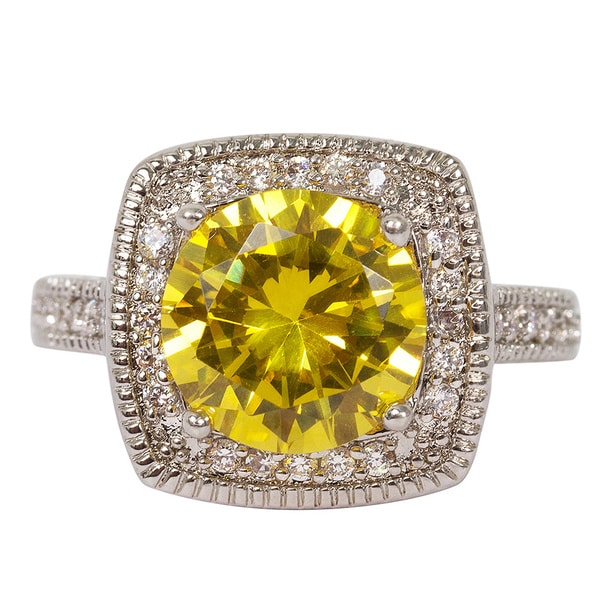 NEXTE Jewelry Large Yellow Solitaire Ring