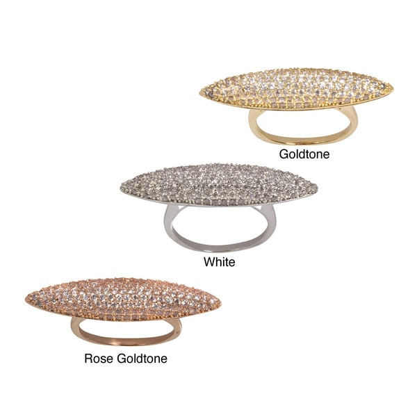 NEXTE Jewelry Micro Pave-set Cubic Zirconia Elongated Pointed Elipse Ring