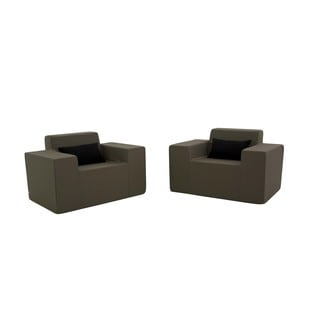 Softblock Taupe Outdoor Foam Chairs (Set of 2)
