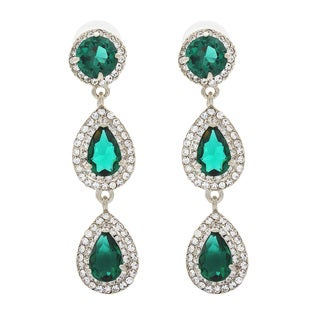 NEXTE Jewelry Red Carpet Triple Tier Emerald Green Dangle Earrings