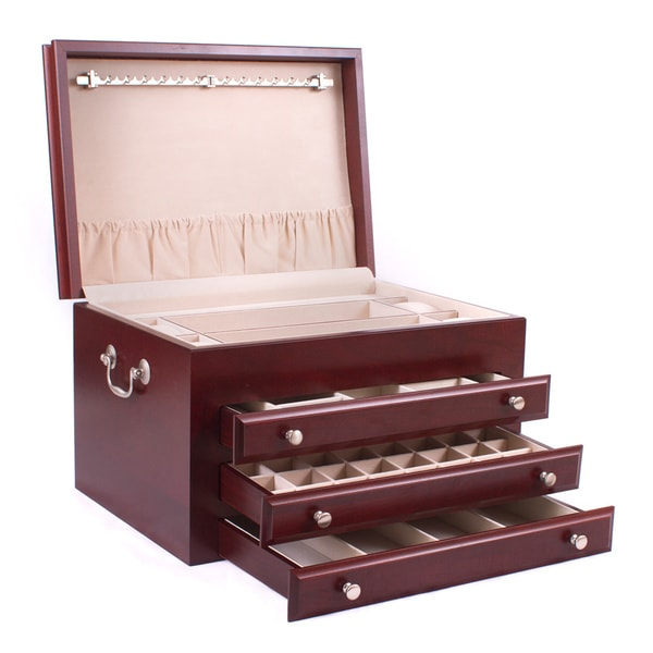 American chest 39 majestic 39 4 drawer solid cherry jewelry for Solid wood jewelry chest
