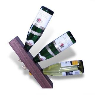 Walnut Teak-finished 3-bottle Balancing Wine Wedge