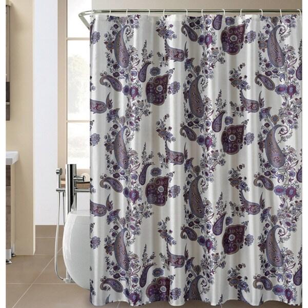 Amina Paisley Shower Curtain and Hook Set