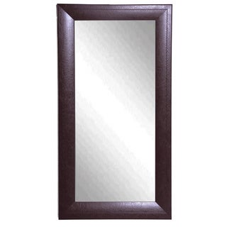 American Made Rayne Espresso Stitched Leather Floor Mirror