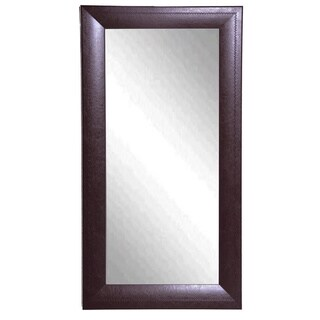 American Made Rayne Espresso Stitched Leather 30.75 x 63.75-inch Wall Vanity Floor Mirror