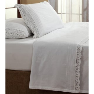 Bella White Ruffled Crochet All Cotton Sheet Set