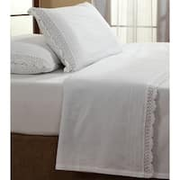Gracewood Hollow Locke White Ruffled Crochet All Cotton Percale Sheet Set