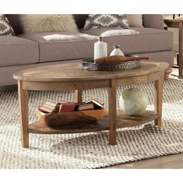 Rustic Wood Oval Coffee Table: Alaterre Heritage Reclaimed Wood Oval Coffee Table