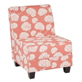 Ave Six Milan Chrysanthemum Floral Print Coral Wood Leg Chair