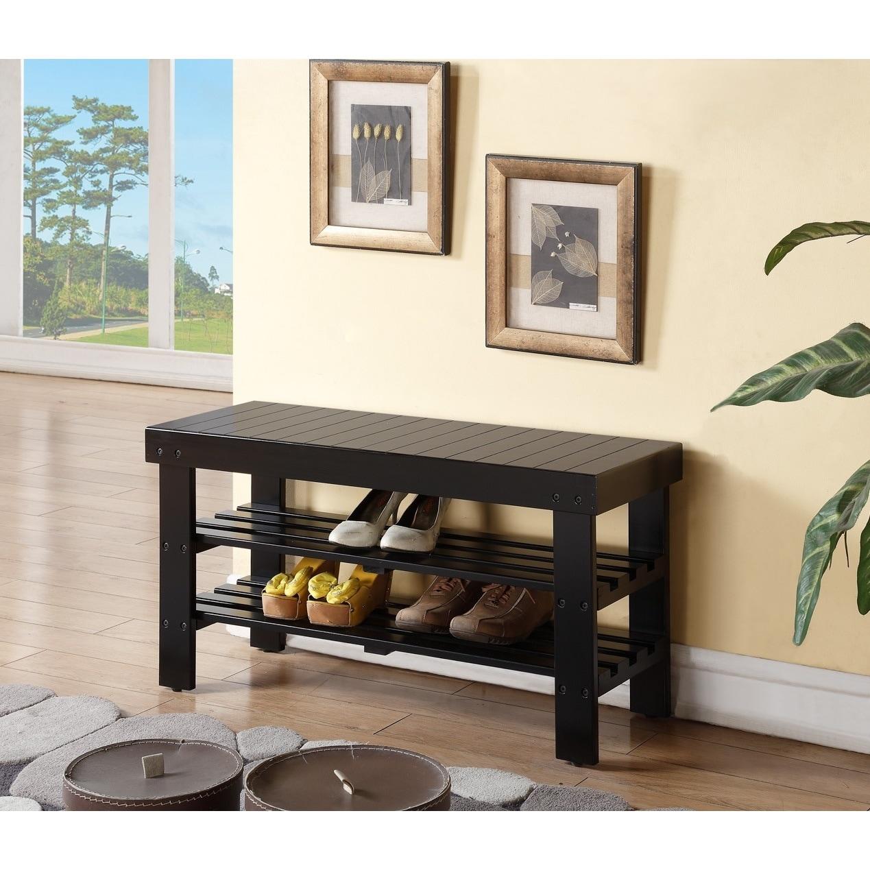 Black Solid Wood Shoe Shelf Bench (Black Shoe bench)