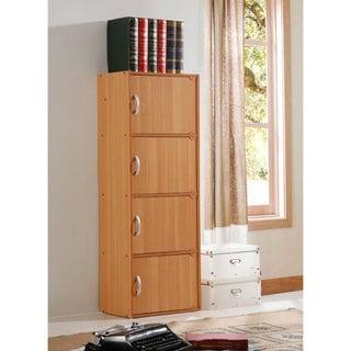 """4-door Wood Storage Cabinet - 47.3""""h x 16""""w x 12""""d"""