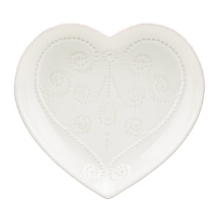 French Perle White Heart Dish