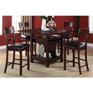 Arezzo 5 pieces Counter Height Dining Set with Wine Storage and Shelving
