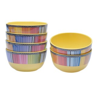 Hand-painted Serape 5.75-inch Melamine Ice Cream Bowls (Set of 6)