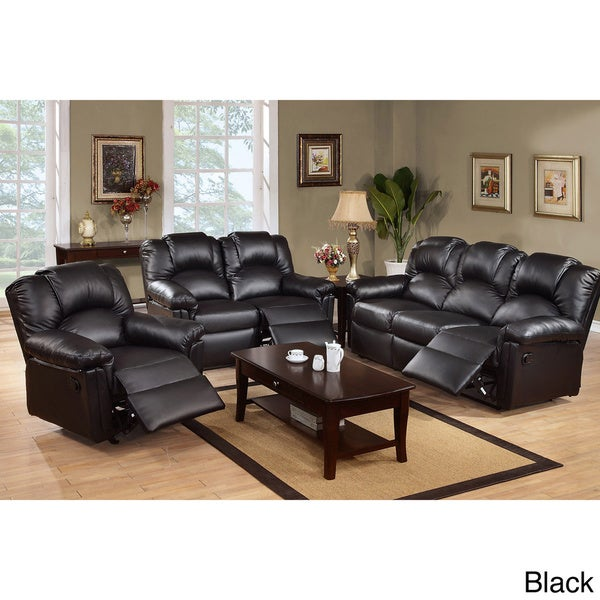grenoble bonded leather reclining living room set - free shipping